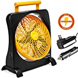 """O2COOL 10"""" Battery Operated Fan - Portable Smart Power Fan with AC Adapter & USB Charging Port for Emergencies, Camping & Travel Use (Orange)"""