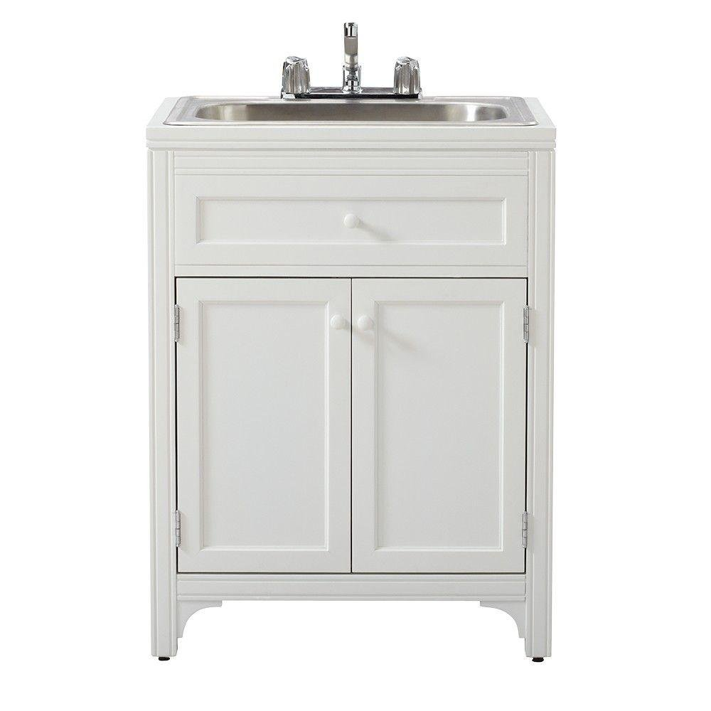 Martha Stewart Living 36 in. H x 27 in. W x 24 in. D Wood Laundry Storage Utility Sink Cabinet in Picket Fence by Martha Stewart Living