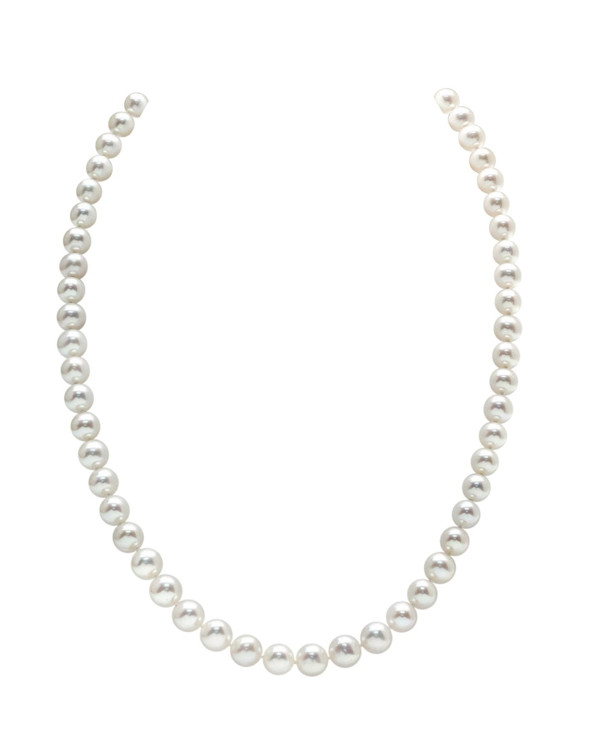 7-8mm Round White Freshwater Cultured Pearl Necklace, 24'' Matinee Length - AAA Quality