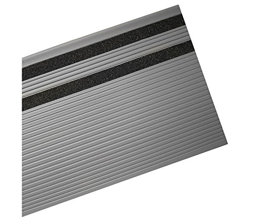 MASTER STOP 5348114 STAIR TREAD SQ NOSE 48 IN. Gray, General with grit, molded vinyl grit-strip ribbed design stairtread. by MASTER STOP