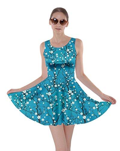 CowCow Sky Blue Japanese Cherry Blossom Tree Skater Dress, Sky Blue - L -