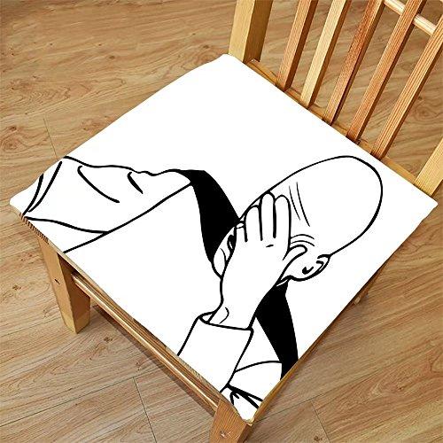 Nalahome Set of 2 Waterproof Cozy Seat Protector Cushion Humor Decor Captain Picard Face Palm Troll Guy Meme Caption Super Fun Online Illustration Black White Printing Size - Sunglasses Guy Meme