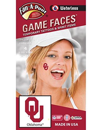 Oklahoma University (OU) Sooners - Waterless Peel & Stick Temporary Spirit Tattoos - 4-Piece - Crimson OU Logo