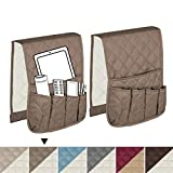 H.VERSAILTEX 2-Pack Non-Slip Couch Sofa Chair Armrest Organizer with 5 Pockets for Phone, Book, Magazines, TV Remote Control (Taupe/Beige) - 35 Inch x 13 Inch