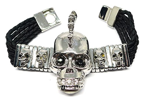 Bijoux De Ja Unisex Silver Tone Punk Rock Skull Wrap Bracelet (Studded Wristband Single)