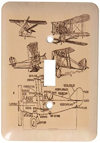 - 3dRose lsp_62138_1 Early 1900s Sketch Of Airplanes Single Toggle Switch