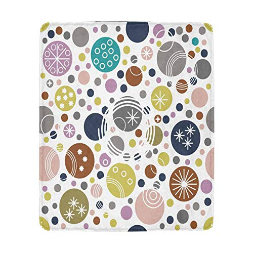 - InterestPrint Random Polka Dot Background Pink Blue Green Fleece Blanket Super Soft Warm Lightweight Bed Blanket 50 x 60 Inches