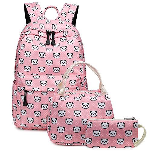 Abshoo Lightweight Polyester Panda Girls Bookbags for School Kids Girls Backpacks With Lunch Bag (Panda Pink Set)