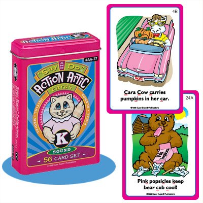 Super Action Card - Say and Do K Action Articulation Fun Deck Flash Cards - Super Duper Educational Learning Toy for Kids