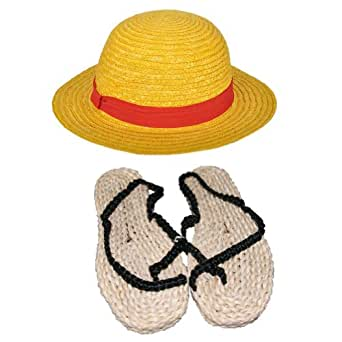Halloween Luffy Cosplay Straw Hat and Sandals Accessories EUR 40