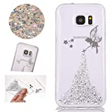 Stysen Galaxy S7 Silicone Case,Galaxy S7 Glitter Case,Galaxy S7 Shiny Rubber Case,Crystal Clear Perfect Fit Fairy Angel Girl Design Shiny Glitter Bling Sparkle Soft Gel Hybrid Bumper Tpu Silicone Ultrathin Flexible Transparent Cover Shell Skin for Samsung Galaxy S7-Silver