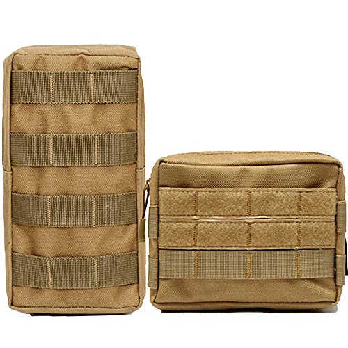 Hoanan 2 Pack Molle Pouch Tactical EDC Pouch Admin Organizer Gadget Gear Pouch for Military Backpack(2 Pack-Coyote)