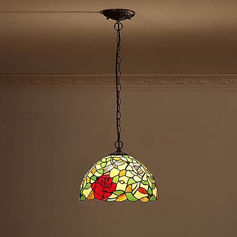 pastoral rose balcony pendant lights warm glass retro decoration