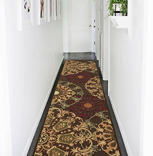 - Ottomanson Ottohome Collection Contemporary Damask Design Non-Skid (Non-Slip) Rubber Backing Runner Rug, 1'10