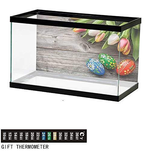 bybyhome Fish Tank Backdrop Easter,Tulips Bouquet Wooden Planks,Aquarium Background,30
