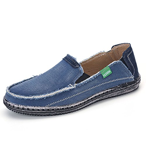 VILOCY Men's Slip on Deck Shoes Canvas Loafer Vintage Flat Boat Shoes Blue -