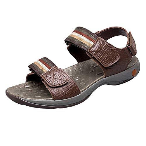 Strand Athletic Sommer Casual Klettverschluss Herren Sandalen Clubs amp; Pik Braun Wasser Leder Outdoor Schuhe ZFqz8fa
