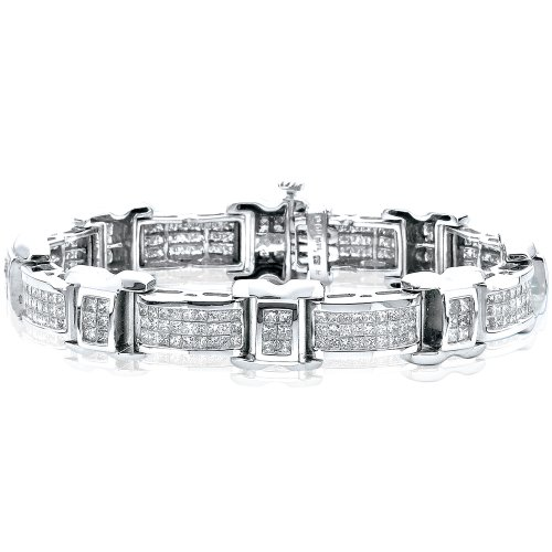- KATARINA 14K White Gold 7 ct. Princess Cut Three Row Diamond Bracelet