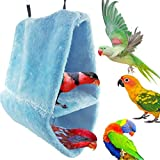 Warm Double-Layer Lint Bird Hammock Nest Sleeping Bed for Bird Parrot Budgie Parakeet Cockatiel Conure Lovebird Finch Canary Cockatoo African Grey Macaw Eclectus Amazon Cage Stand Perch Toy (S)