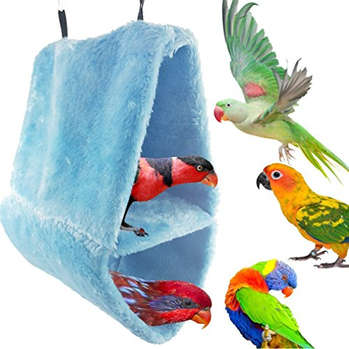- Keersi Winter Warm Bird Hammock Nest House Sleeping Bed for Pet Parrot Parakeet Cockatiel Conure Cockatoo African Grey Macaw Eclectus Amazon Budgie Lovebird Finch Canary Cage Stand Perch Toy (L)