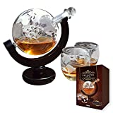 MikaMax - Globe Decanter Set - Whiskey -Two Glasses - Handcrafted - Transparent - 850 ML
