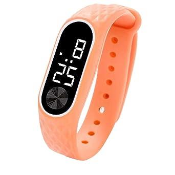BBestseller Relojes Deportivo Infantil electrónico-Estudiantes Podómetro Reloj de con Pantalla Digital LED Inteligente Pulsera Cronómetro (Naranja): ...