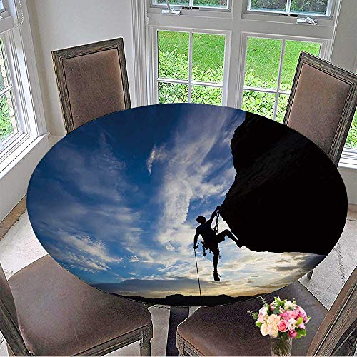 Round Polyester Tablecloth Table Cover Rock Climber Rappelling Past an Overhang in Joshua Tree National Park for Most Home Decor 50