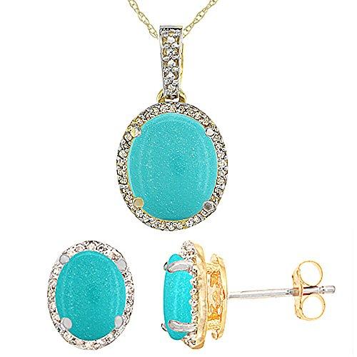 Or jaune 9Ct naturel ovale Turquoise boucles d'oreilles et pendentif Set Accents de diamant