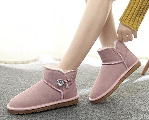 Chfso Donna Alla Moda Solido Completamente Foderato Caviglia Abbottonatura Alta Su Stivali Da Neve Caldi Invernali Rosa