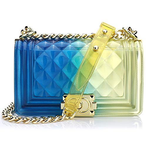Onorner Womens Jelly Bag Transparent Box Bag Cross Body Bag Summer PVC Clutch Purse Beach Clear Bag With Chain (Blue,Small size - Large Blue Purse Quilted