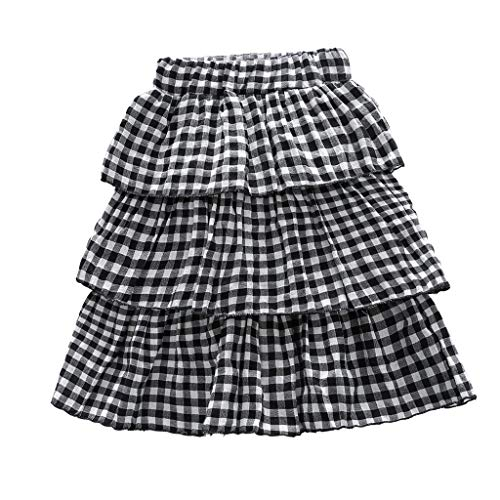(Toddler Girl Clothes Sundress Gingham Check Multilayer Kilt Plaid Outfits Skirt Fashion Short Tutu Skirt Black)