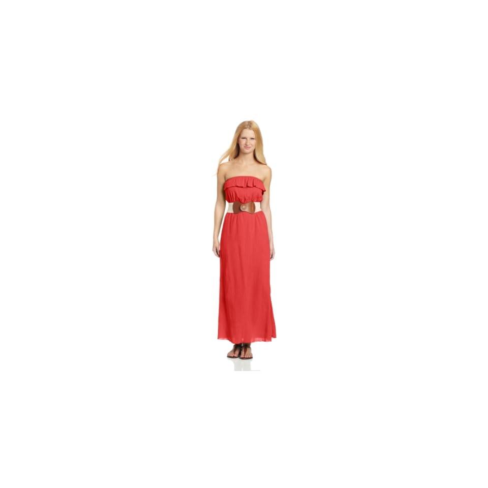 Trixxi Juniors Gauze Maxi Dress With Belt, Red, Small