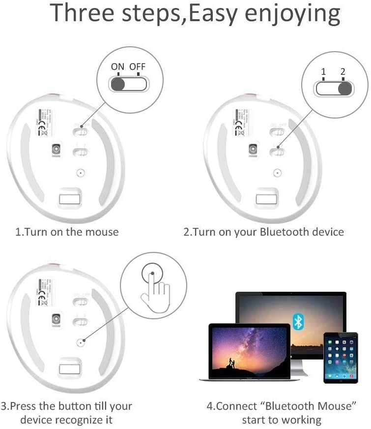 CITW Mini Bluetooth 4.0 2.4G Wireless Mute Vertical Mouse 4 Tooth DPI RGB Ergonomic Rechargeable Mouse for PC Smartphone,E