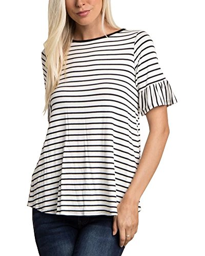 LEANI Women's Striped Bell Short Sleeve Crew Neck Casual Loose T-Shirt Basic Top Blouse Black