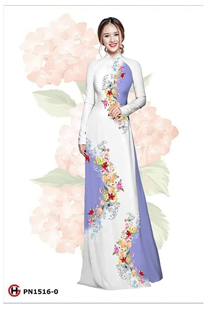 Ao Dai Silk 3D ADVN1242 Traditional Vietnamese Long Dress Collections with Pants