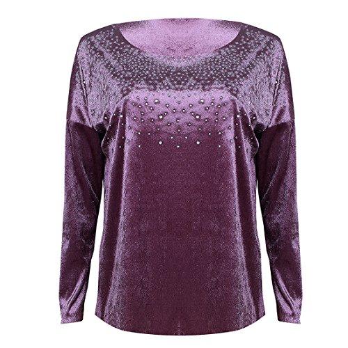 Chemisiers Tops Chaud Shirt Couleur Femme Casual Violet T Manches Blouse Longues Haut Rond Shirts Forage Unie Col New AnqxYzagz