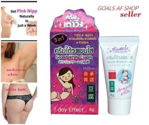 New dark spot remover for bikini area (Size 6 gram x 3 Pcs) Secret White Cream Tofu&Gluta 3 in1 White Cream White Groin