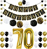 70 yr old birthday - Black 70th Birthday Decorations Party KIT - Black Gold and White Paper Pompoms| Latex Balloons | Gold Number 70 Ballon | Circle Garland | 70th Birthday Balloons | 70 Years Old Birthday Party Supplies