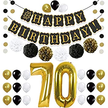 Black 70th Birthday Decorations Party KIT