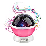Anpress Moon Star Projector with 12 Soft Music, Baby Room Night Light, 360 Degree Rotation 3 Mode Light, USB Rechargeable, Romantic Home Decoration Lamp Great Gift for Christmas Children (Pink)