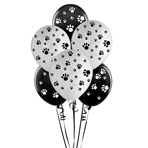 Black and White Paw Latex Print Balloons,50 (White Paw Prints)