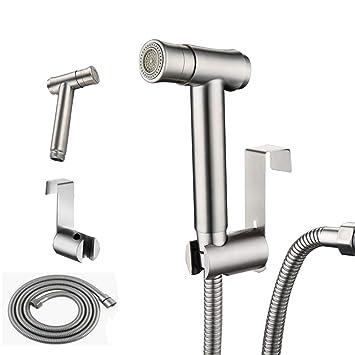2 in 1 Ducha bidet 304 Acero Inoxidable con el grifo para inodoro con Manguera Multi-funcional de baño (grifo)