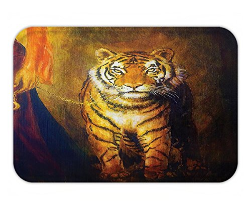 Beshowere Doormat Decor Collection Tiger on a Leash and Woman Walking Hand Dark ColorOil Painting Effect StripeImage Polyester Fabric Bathroom Extra Long Yellow - Products Leash T-rex