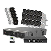 Revo America Ultra Plus Commerical Grade 32CH 4K H.265 NVR,  4 TB Surveillance Grade HDD, Remote Access, with 20x 1080p Indoor/Outdoor IR Bullet Camera