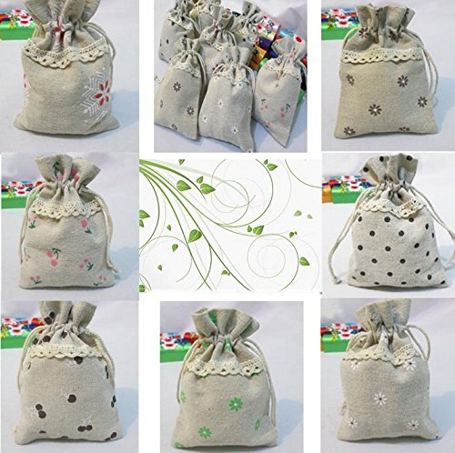 "Cotton Linen handmade fabric gift bags wedding favor jewelry bags home decor set of 10 (9.5*13CM (3.5""*5""))"