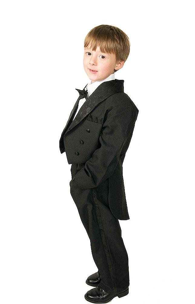 Dressy Daisy Boys' Classic Tuxedo w/Tail 5 Pcs Set Formal Suits Wedding Outfit Size 5 Black
