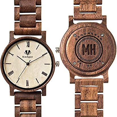 Swanky Badger Personalized Groomsman Gift, Engraved Real Wooden Watch is The Perfect Wedding Gift for Your Best Man & Wedding Party, Sandalwood, Links