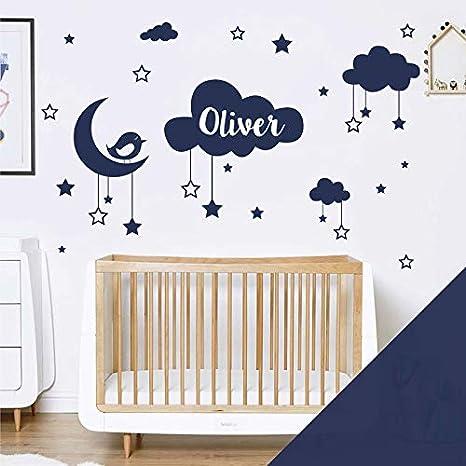 Sheet Size: 580 x 200mm /étoiles Lune et Oiseau Medium Grass Wall Designer Autocollant Mural pr/énom b/éb/é Nuages
