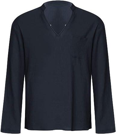 TUDUZ Camisetas Hombre Verano Manga Corta Algodón Y Lino Camisas Cuello en V con Bolsillo Pecho Tops Respirable Delgado: Amazon.es: Ropa y accesorios