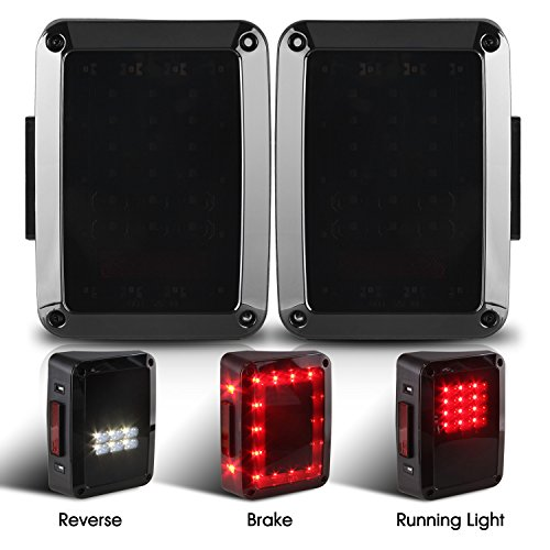 Smoked Led Rear Lights (Jeep Wrangler Tail Lights, Jeep Brake Lights, JK LED Lights, Jeep Rear Lights, Jeep Reverse Lights, Back Up Turn Signal Lamp DRL for JK JKU Sports, Sahara, Freedom Rubicon 2007 - 2017 Smoked)